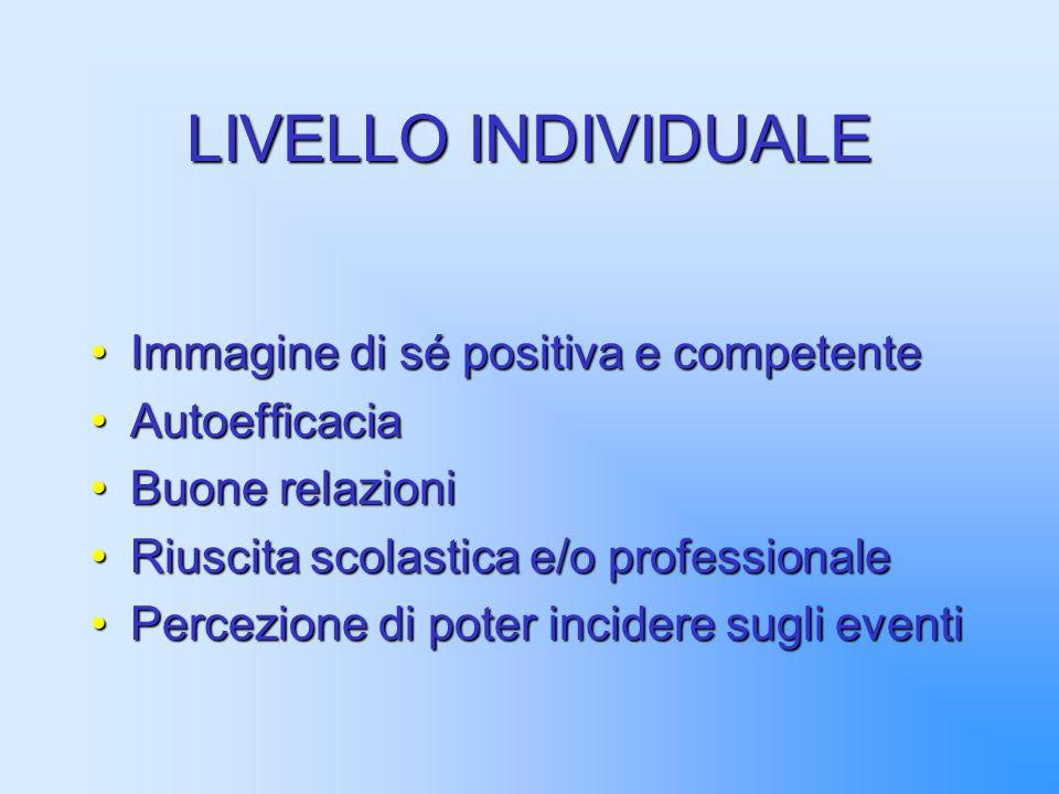 LIVELLO INDIVIDUALE Immagine di sé positiva e competente Autoefficacia