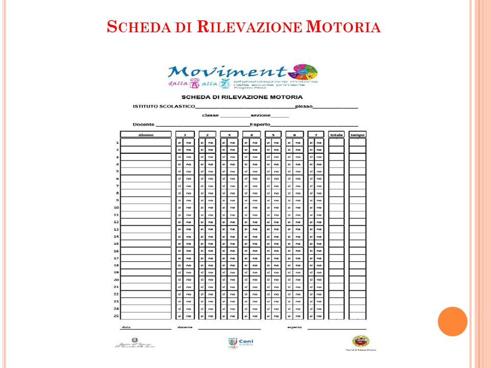 Scheda di Rilevazione Motoria