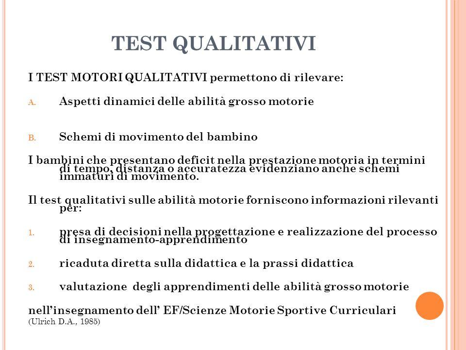 TEST QUALITATIVI I TEST MOTORI QUALITATIVI permettono di rilevare: