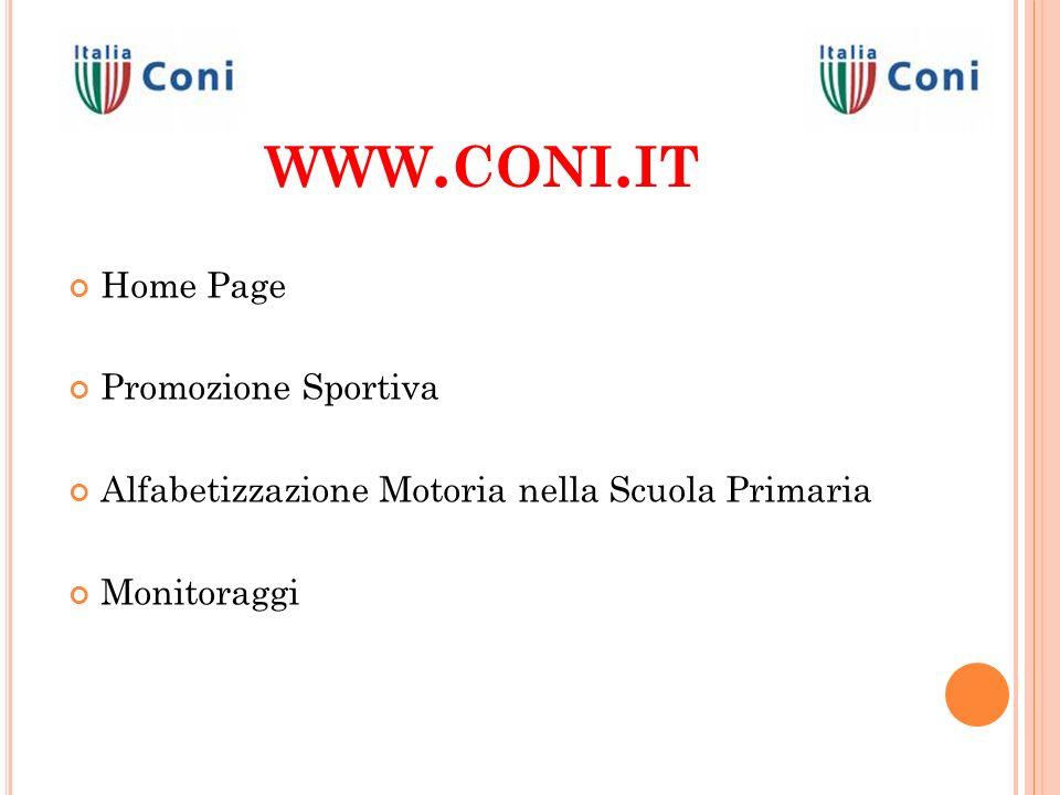 www.coni.it Home Page Promozione Sportiva