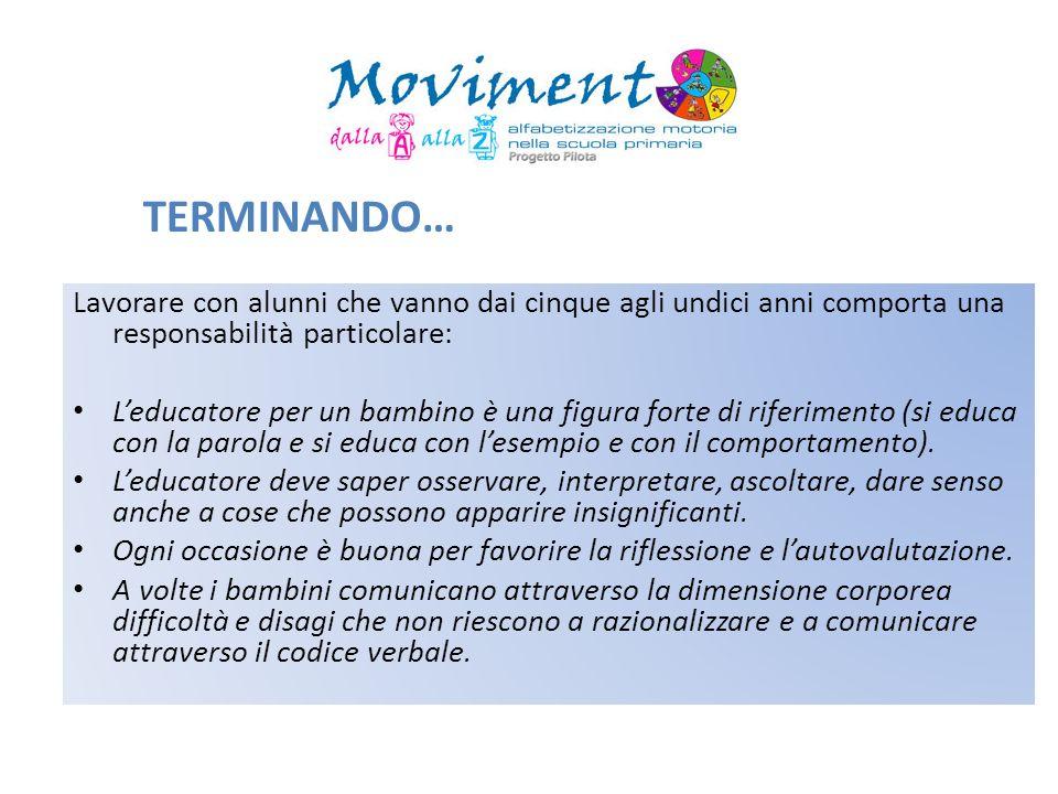 TERMINANDO…Lavorare con alunni che vanno dai cinque agli undici anni comporta una responsabilità particolare: