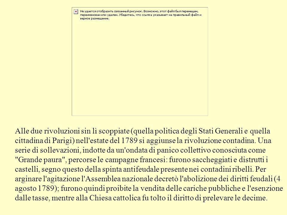 Alle due rivoluzioni sin lì scoppiate (quella politica degli Stati Generali e quella cittadina di Parigi) nell estate del 1789 si aggiunse la rivoluzione contadina.