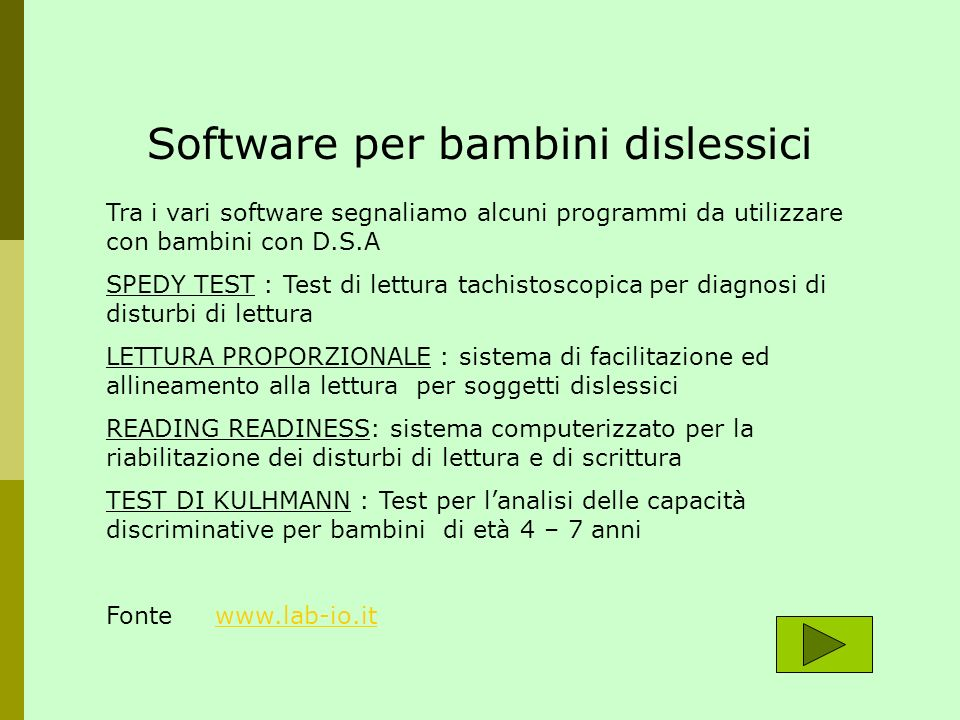 Software per bambini dislessici