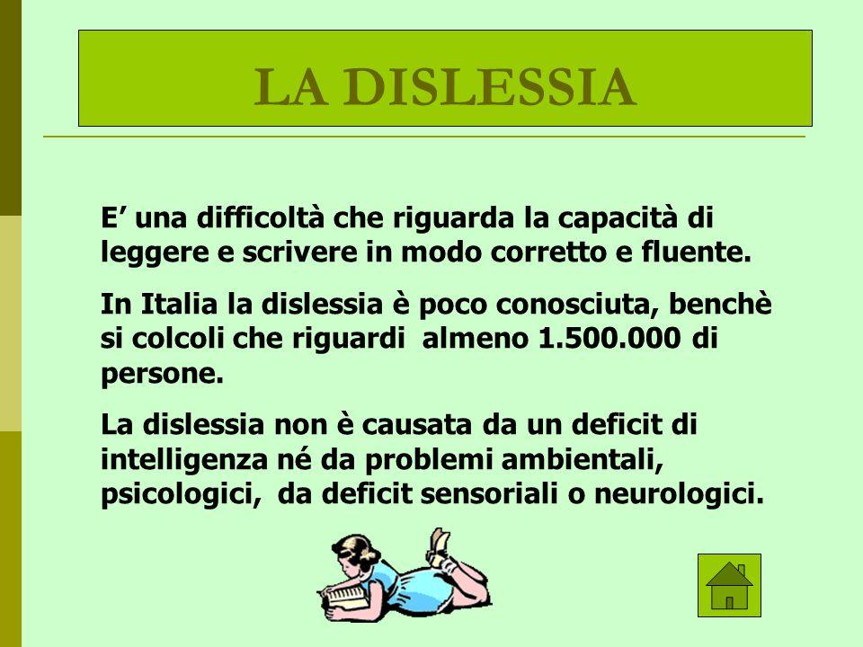 LA DISLESSIA E' una difficoltà che riguarda la capacità di leggere e scrivere in modo corretto e fluente.