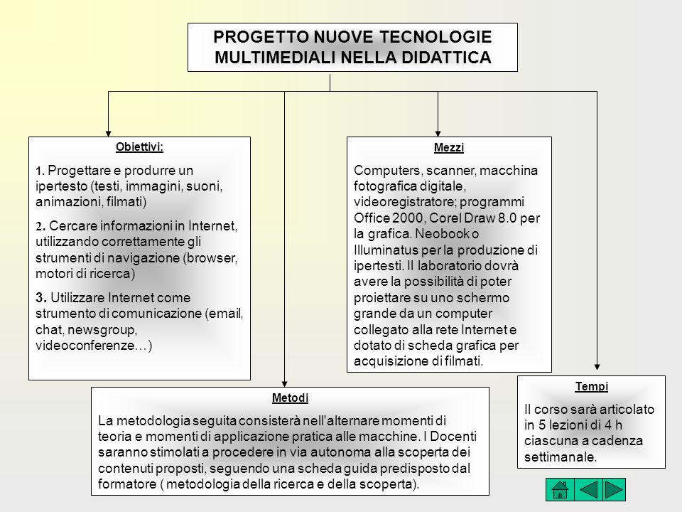 PROGETTO NUOVE TECNOLOGIE MULTIMEDIALI NELLA DIDATTICA