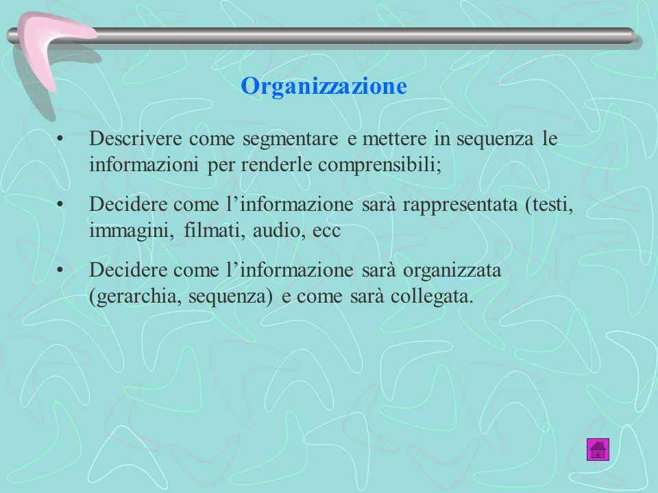 Organizzazione Descrivere come segmentare e mettere in sequenza le informazioni per renderle comprensibili;