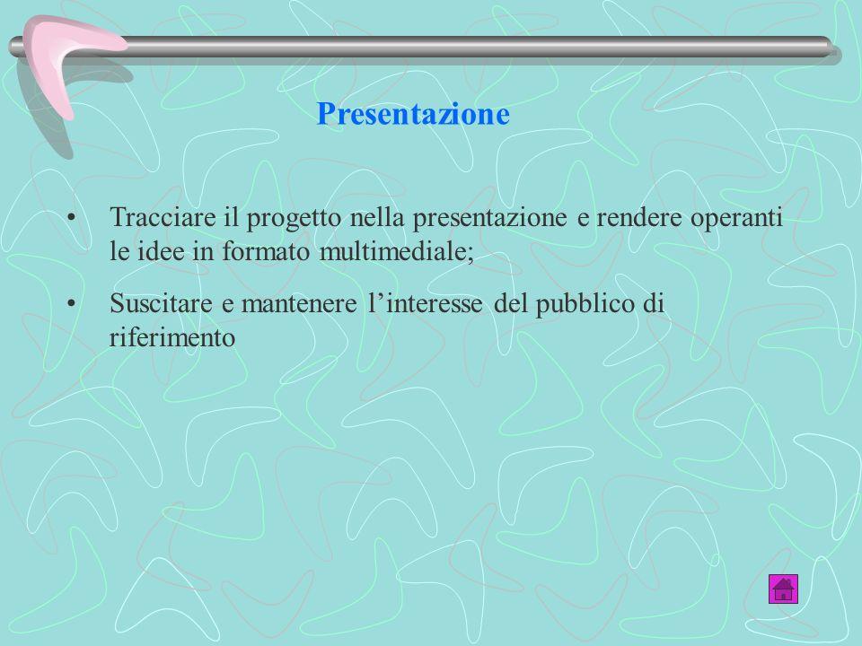 Presentazione Tracciare il progetto nella presentazione e rendere operanti le idee in formato multimediale;