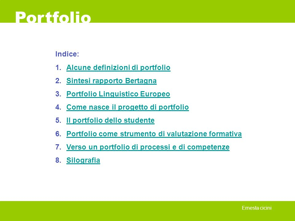 Portfolio Indice: Alcune definizioni di portfolio