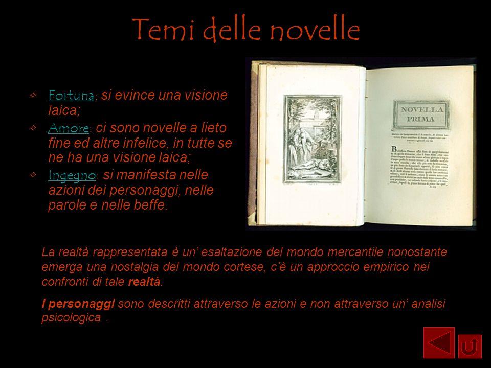 Temi delle novelle Fortuna: si evince una visione laica;
