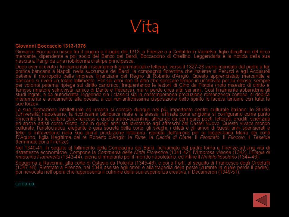 Vita Giovanni Boccaccio 1313-1375