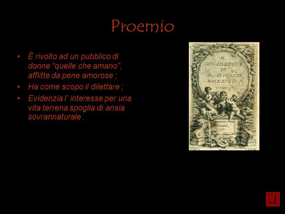 Proemio È rivolto ad un pubblico di donne quelle che amano , afflitte da pene amorose ; Ha come scopo il dilettare ;