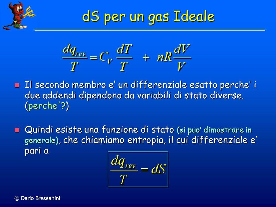 dS per un gas Ideale Il secondo membro e' un differenziale esatto perche' i due addendi dipendono da variabili di stato diverse. (perche )