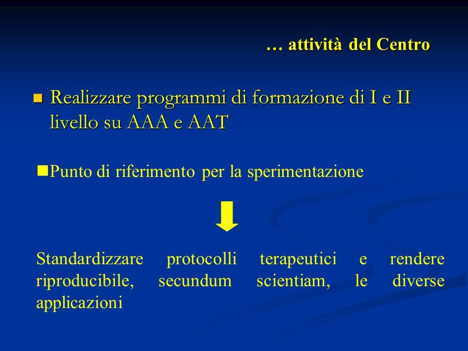 Realizzare programmi di formazione di I e II livello su AAA e AAT