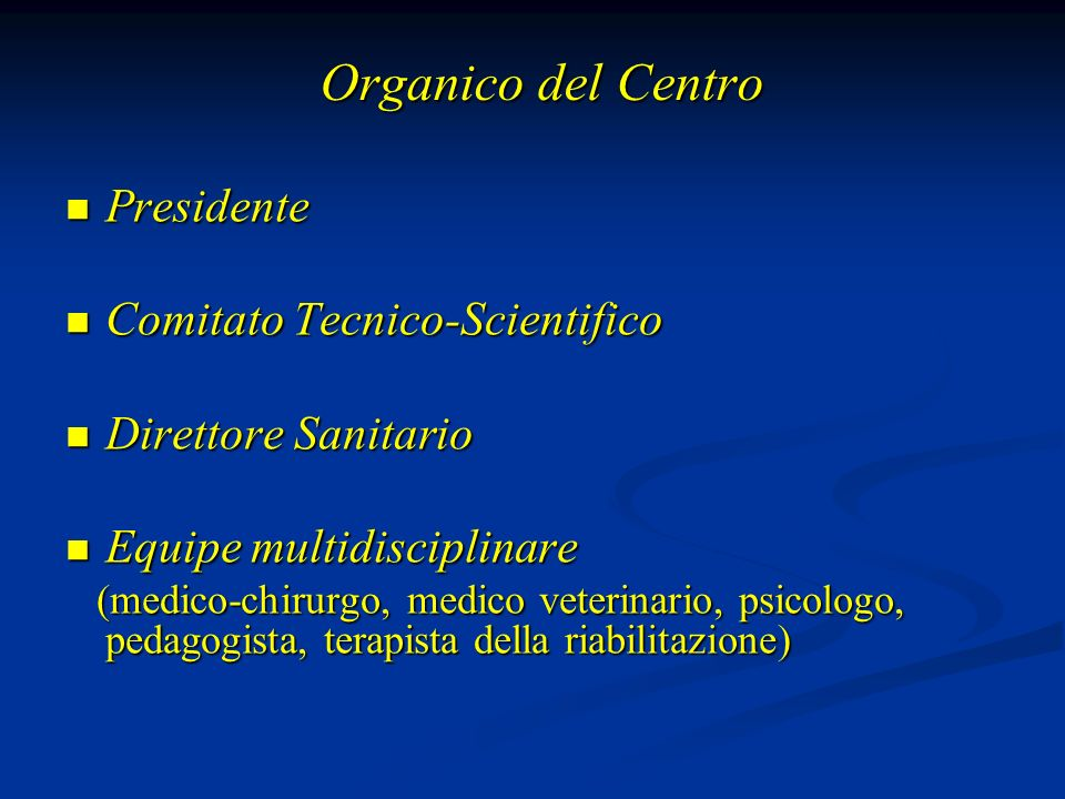 Organico del Centro Presidente Comitato Tecnico-Scientifico