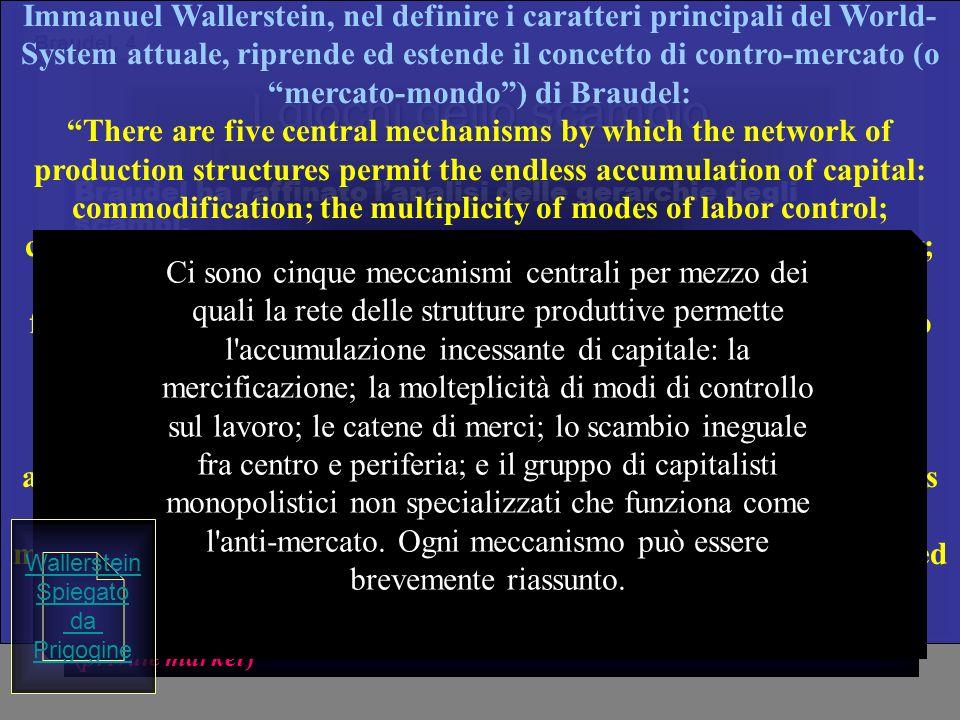 Immanuel Wallerstein, nel definire i caratteri principali del World-System attuale, riprende ed estende il concetto di contro-mercato (o mercato-mondo ) di Braudel: