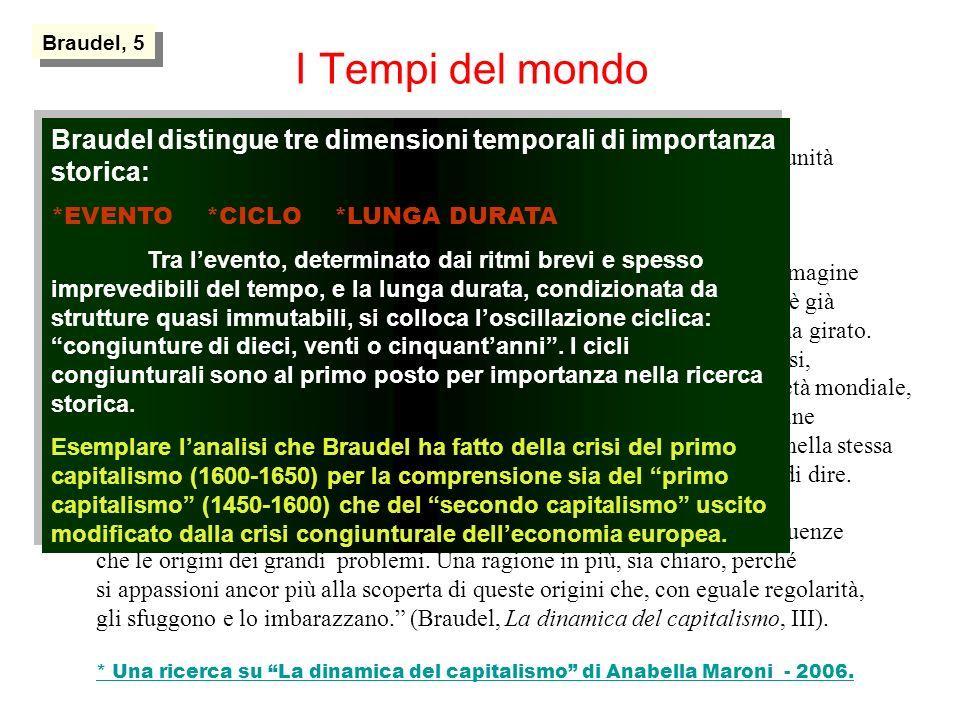 Braudel, 5I Tempi del mondo. Una storia, cioè una successione cronologica di forme, di esperienze.
