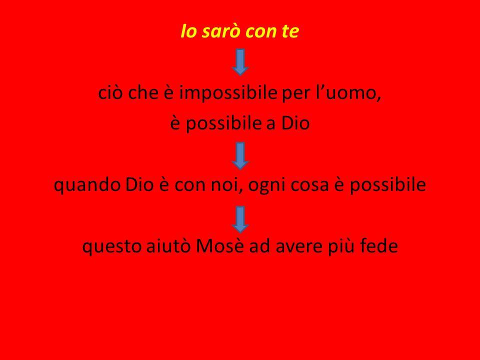 Io sarò con te ciò che è impossibile per l'uomo, è possibile a Dio quando Dio è con noi, ogni cosa è possibile questo aiutò Mosè ad avere più fede