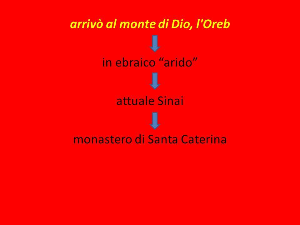 arrivò al monte di Dio, l Oreb in ebraico arido attuale Sinai monastero di Santa Caterina
