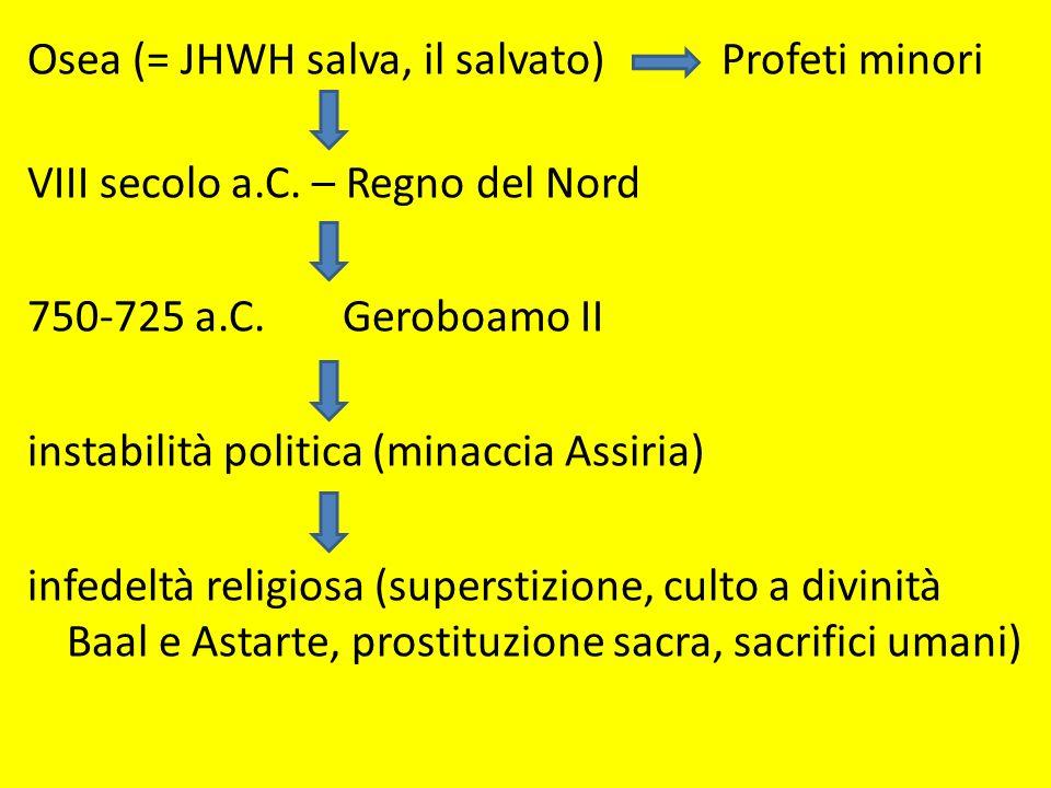 Osea (= JHWH salva, il salvato) Profeti minori VIII secolo a. C