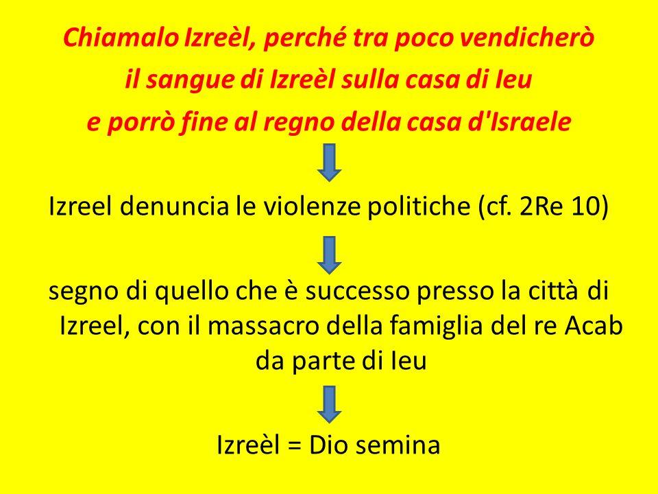 Chiamalo Izreèl, perché tra poco vendicherò il sangue di Izreèl sulla casa di Ieu e porrò fine al regno della casa d Israele Izreel denuncia le violenze politiche (cf.