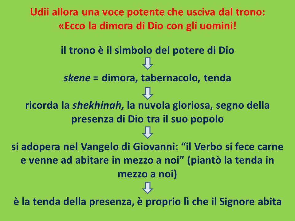 Udii allora una voce potente che usciva dal trono: «Ecco la dimora di Dio con gli uomini!