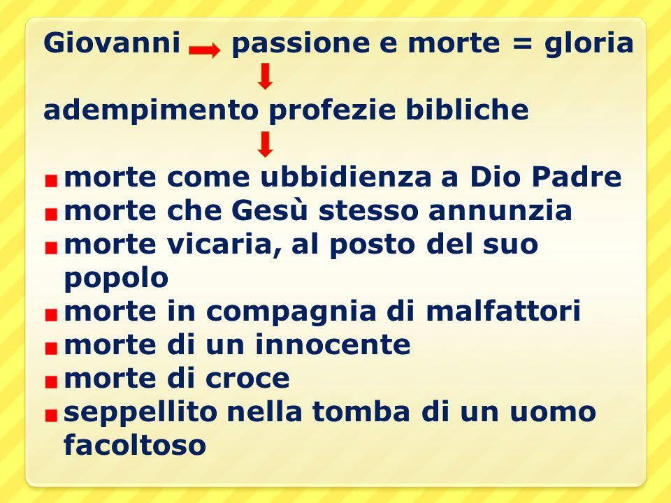 Giovanni passione e morte = gloria
