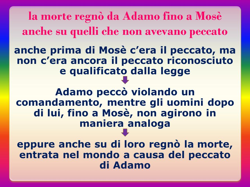 la morte regnò da Adamo fino a Mosè anche su quelli che non avevano peccato