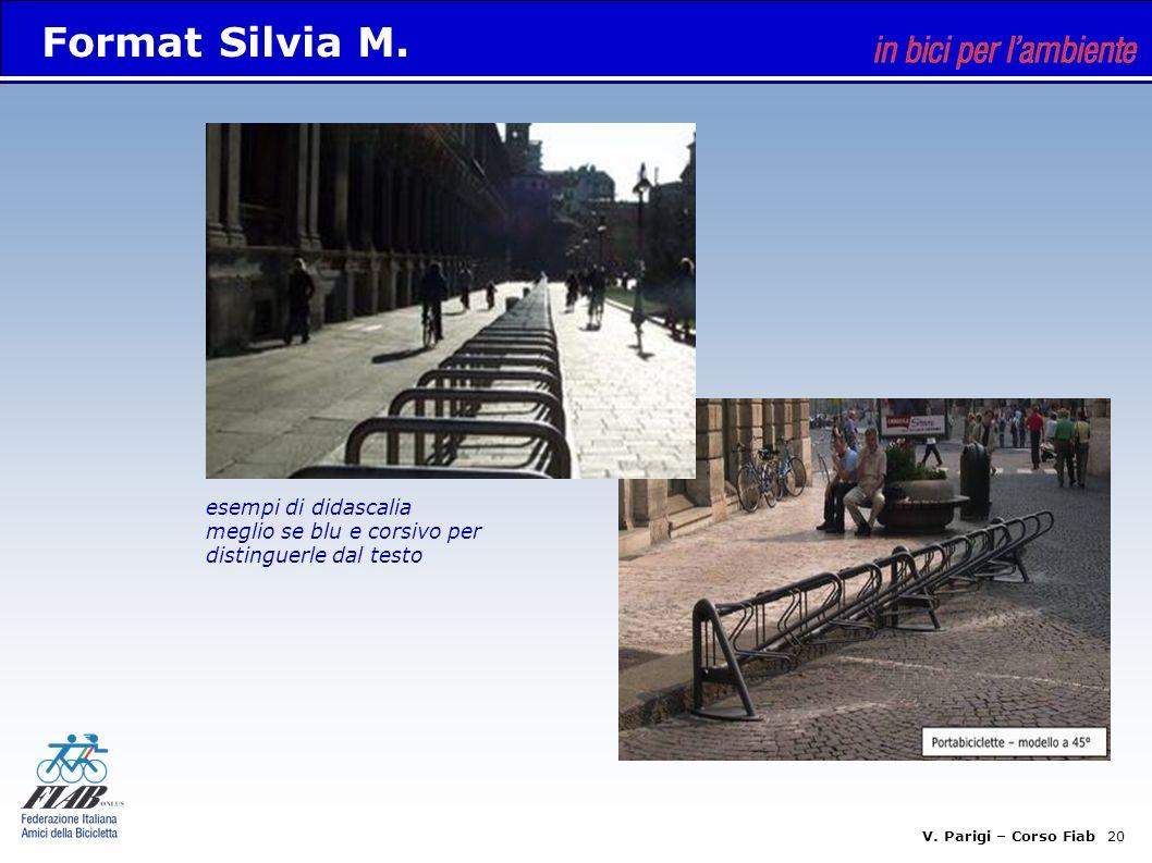 Format Silvia M. esempi di didascalia