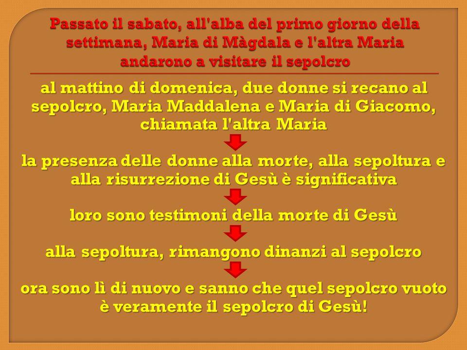 Passato il sabato, all alba del primo giorno della settimana, Maria di Màgdala e l altra Maria andarono a visitare il sepolcro