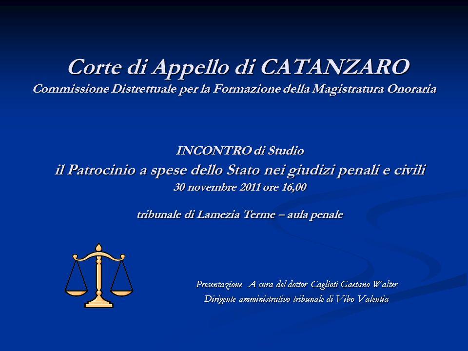 Corte di Appello di CATANZARO Commissione Distrettuale per la Formazione della Magistratura Onoraria