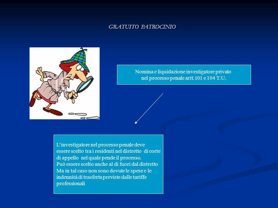 GRATUITO PATROCINIO Nomina e liquidazione investigatore privato