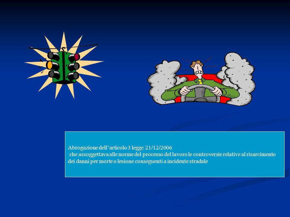 Abrogazione dell'articolo 3 legge 21/12/2006