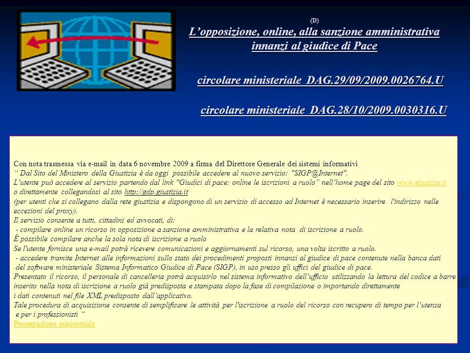 circolare ministeriale DAG.29/09/2009.0026764.U