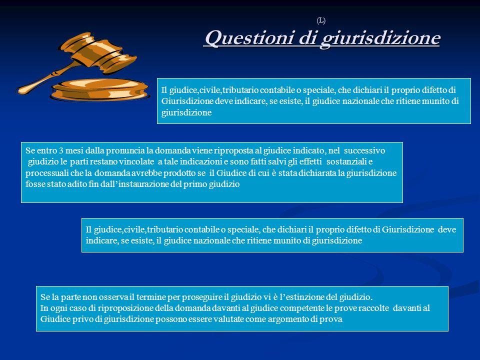 (L) Questioni di giurisdizione