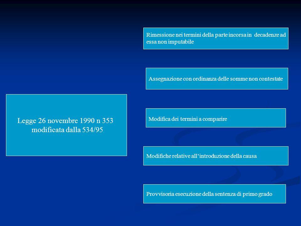 Legge 26 novembre 1990 n 353 modificata dalla 534/95