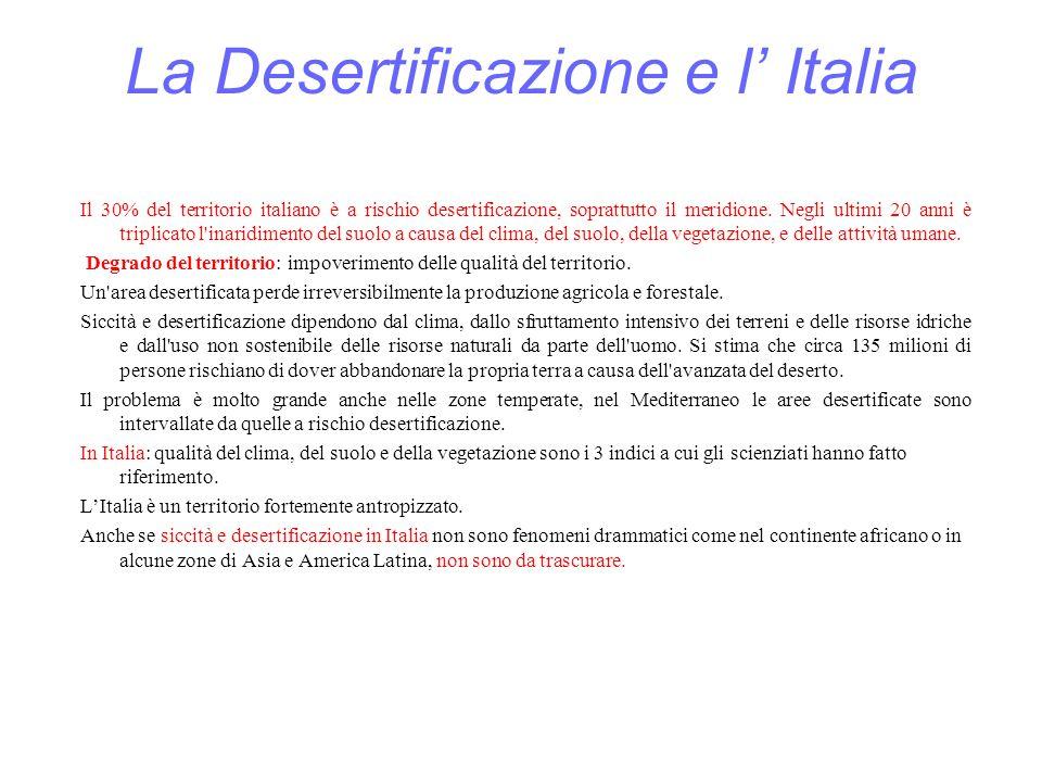 La Desertificazione e l' Italia