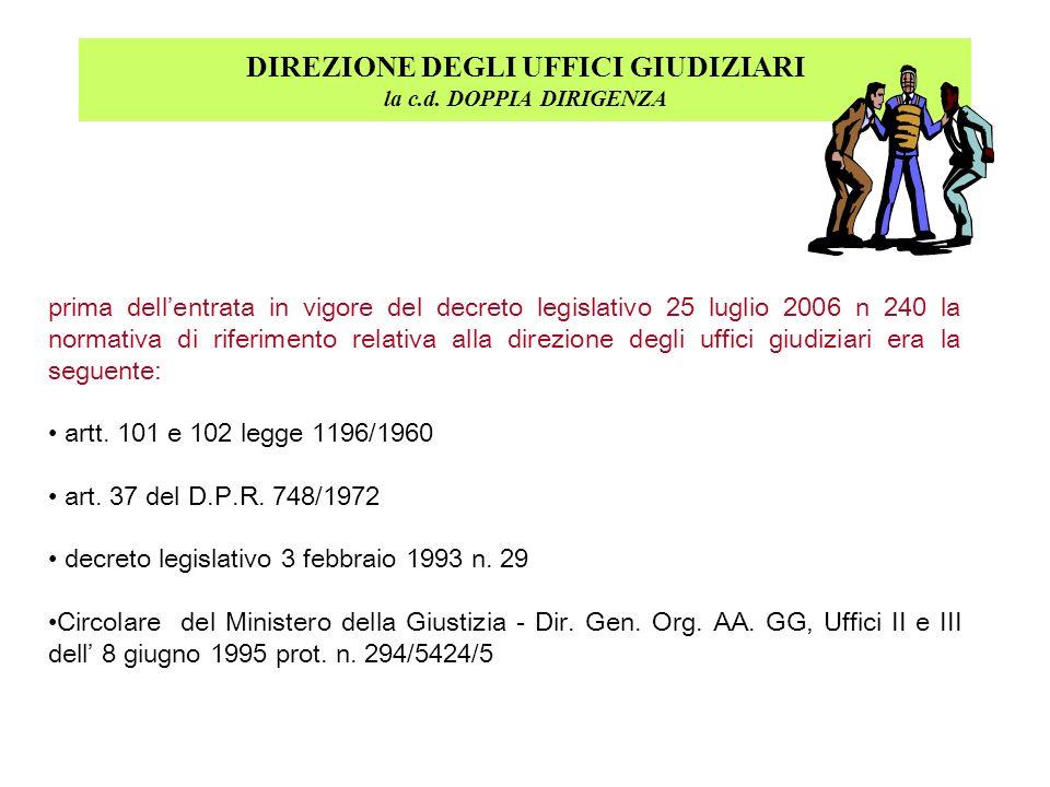 DIREZIONE DEGLI UFFICI GIUDIZIARI la c.d. DOPPIA DIRIGENZA