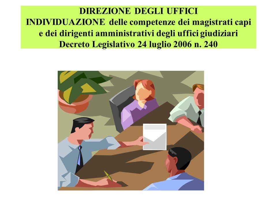 DIREZIONE DEGLI UFFICI INDIVIDUAZIONE delle competenze dei magistrati capi e dei dirigenti amministrativi degli uffici giudiziari Decreto Legislativo 24 luglio 2006 n.