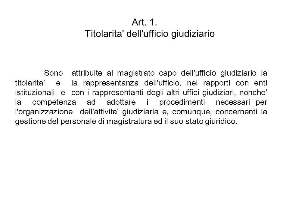 Art. 1. Titolarita dell ufficio giudiziario