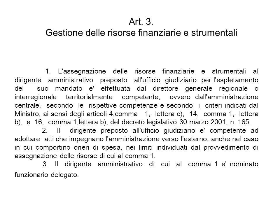 Art. 3. Gestione delle risorse finanziarie e strumentali
