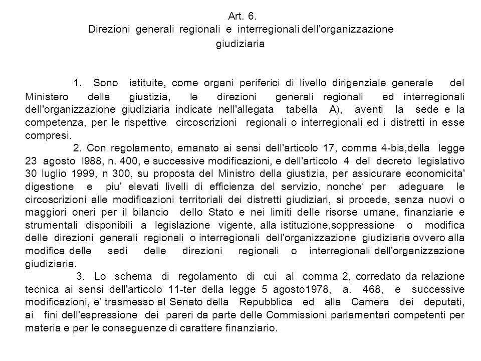 Art. 6. Direzioni generali regionali e interregionali dell organizzazione giudiziaria
