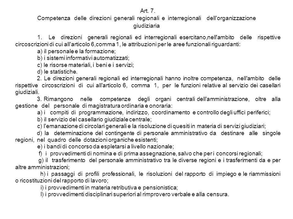 Art. 7. Competenza delle direzioni generali regionali e interregionali dell organizzazione giudiziaria