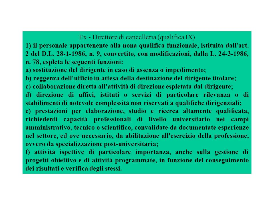 Ex - Direttore di cancelleria (qualifica IX)
