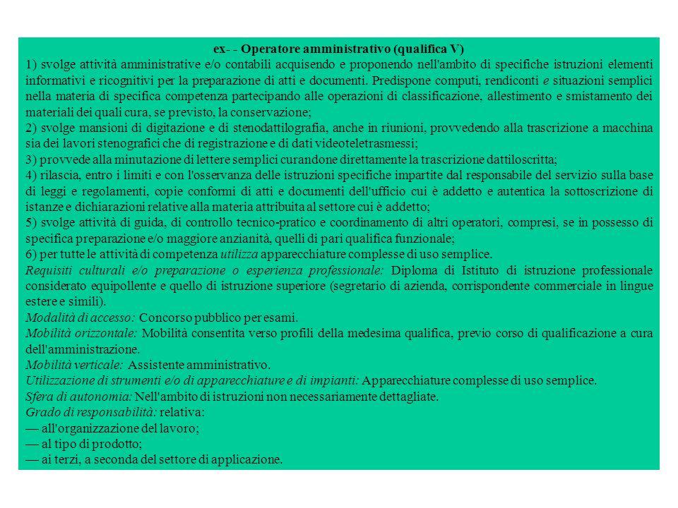 ex- - Operatore amministrativo (qualifica V)
