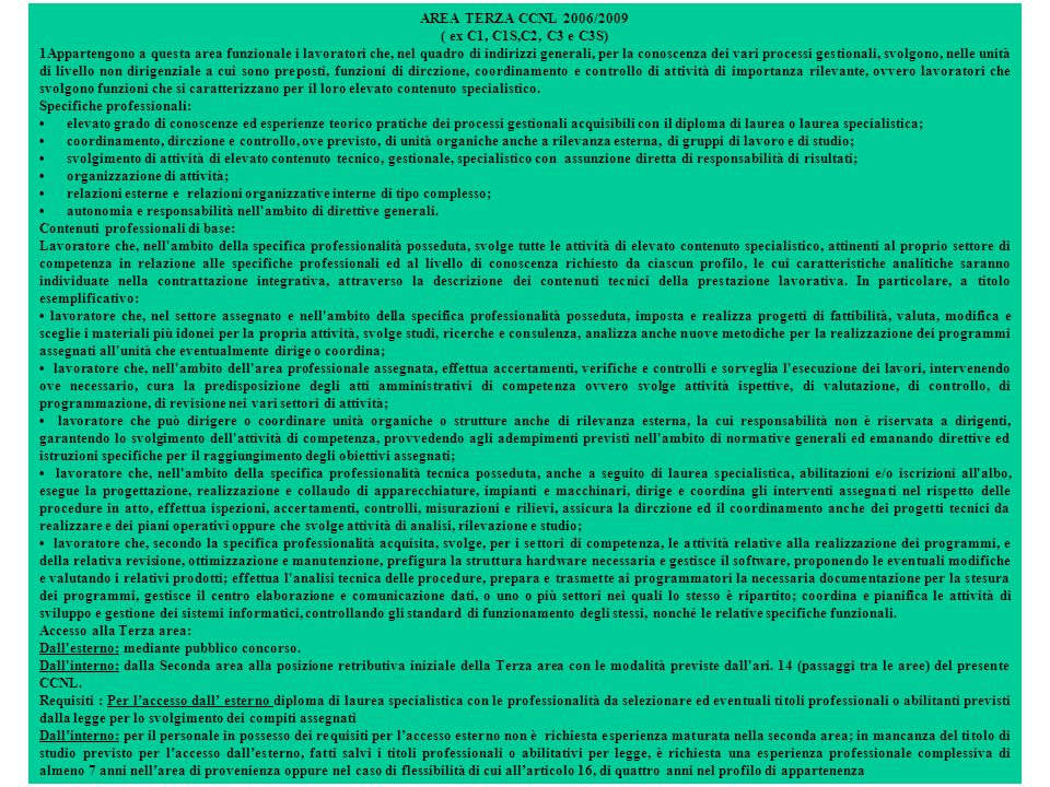 AREA TERZA CCNL 2006/2009 ( ex C1, C1S,C2, C3 e C3S)