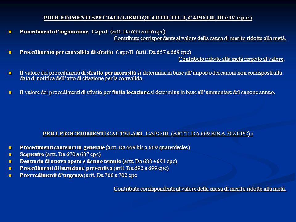 PER I PROCEDIMENTI CAUTELARI CAPO III (ARTT. DA 669 BIS A 702 CPC) :