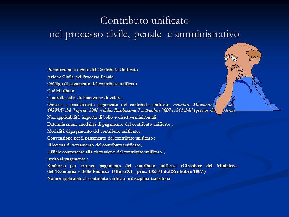 Contributo unificato nel processo civile, penale e amministrativo
