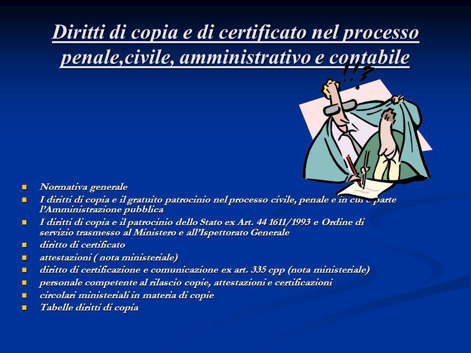 Diritti di copia e di certificato nel processo penale,civile, amministrativo e contabile
