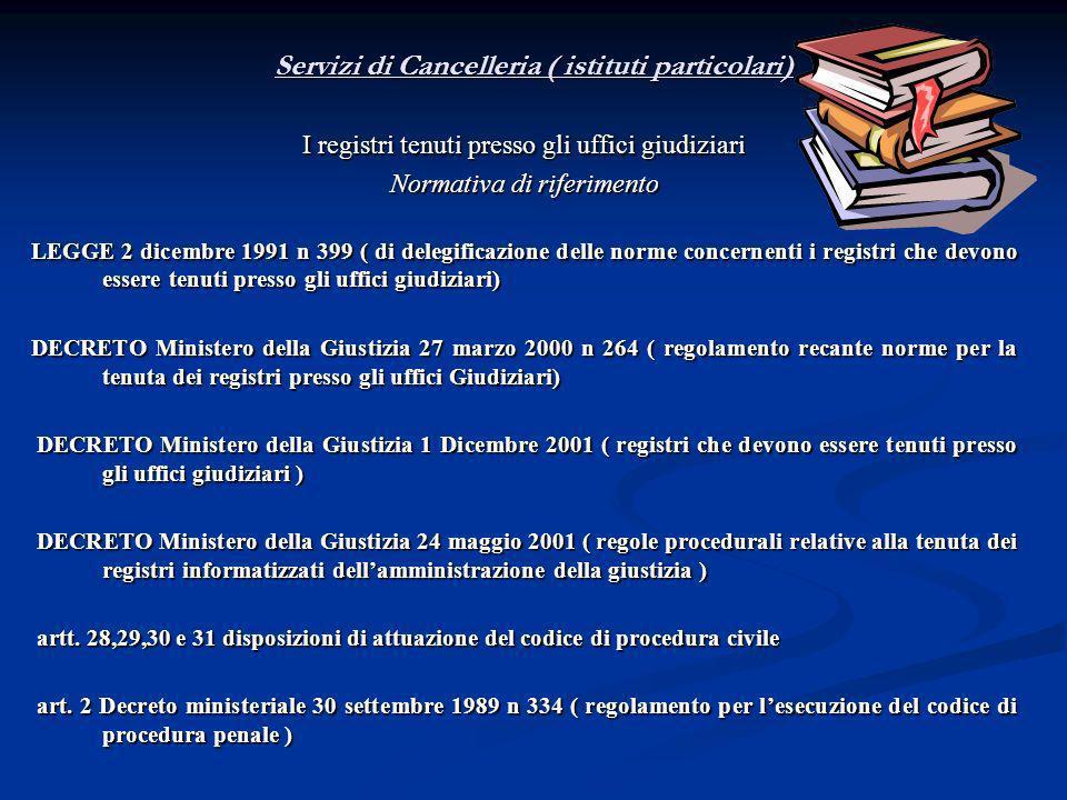 Servizi di Cancelleria ( istituti particolari)