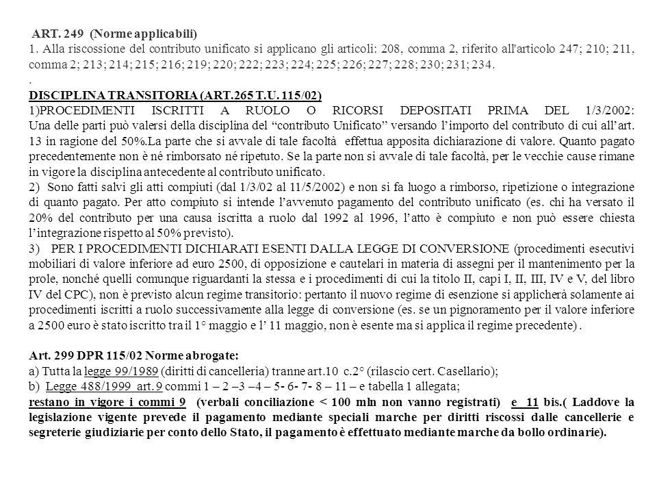 DISCIPLINA TRANSITORIA (ART.265 T.U. 115/02)